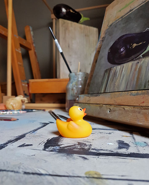 Duck looking at painting